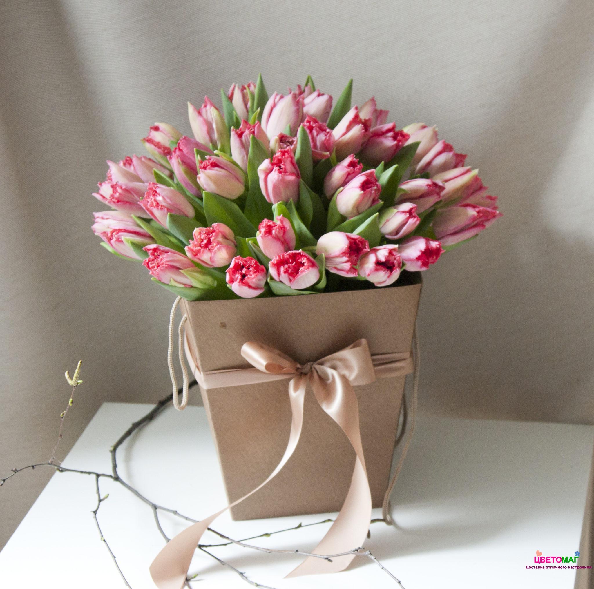 Коробка с 41 розовым тюльпаном