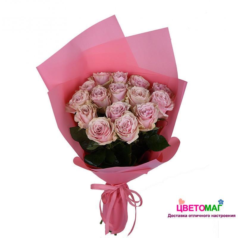 Букет 15 розовых роз Pink Mondial 50 см (Эквадор)