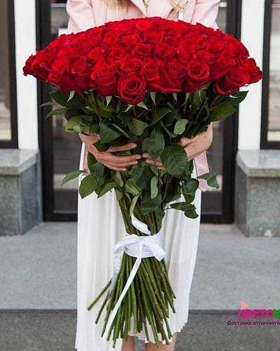 Букет из 51 красной розы Freedom 80 см (Эквадор)