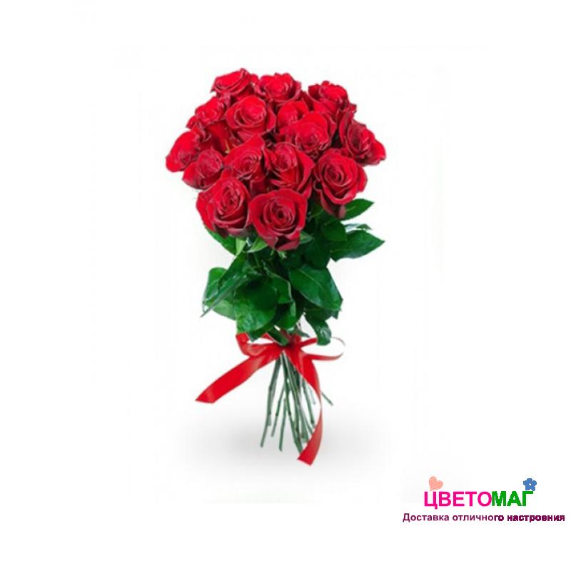 Букет из 15 красных роз  Freedom 70 см (Эквадор)