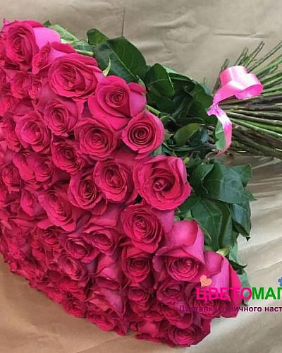 Букет 77 розовых роз Pink Floyd 70 см (Эквадор)