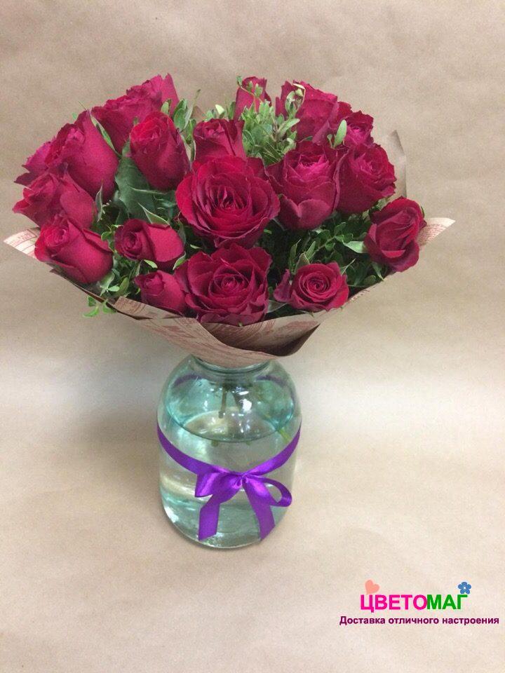 Букет 19 кенийских красных роз
