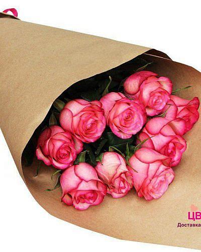 Букет 9 розовых роз Carousel 70 см (Эквадор)