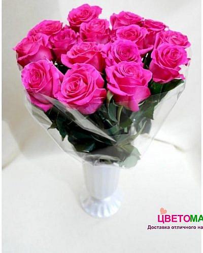 Букет 15 розовых роз Pink Floyd 50 см (Эквадор)