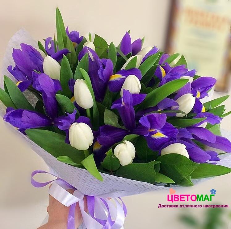 букет тюльпанов с ирисами фото конструкция оснований