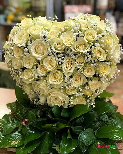 Сердце из 100 белых роз