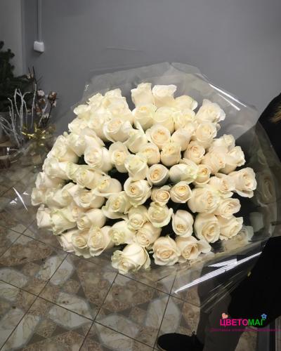Букет 75 роз белых роза Vendela 50 см (Эквадор)