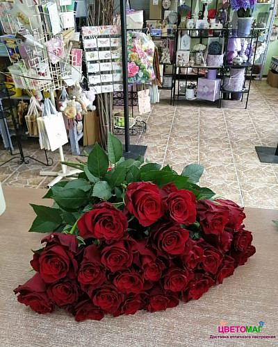 Букет 25красных роз (Explorer) 60 см (Эквадор)